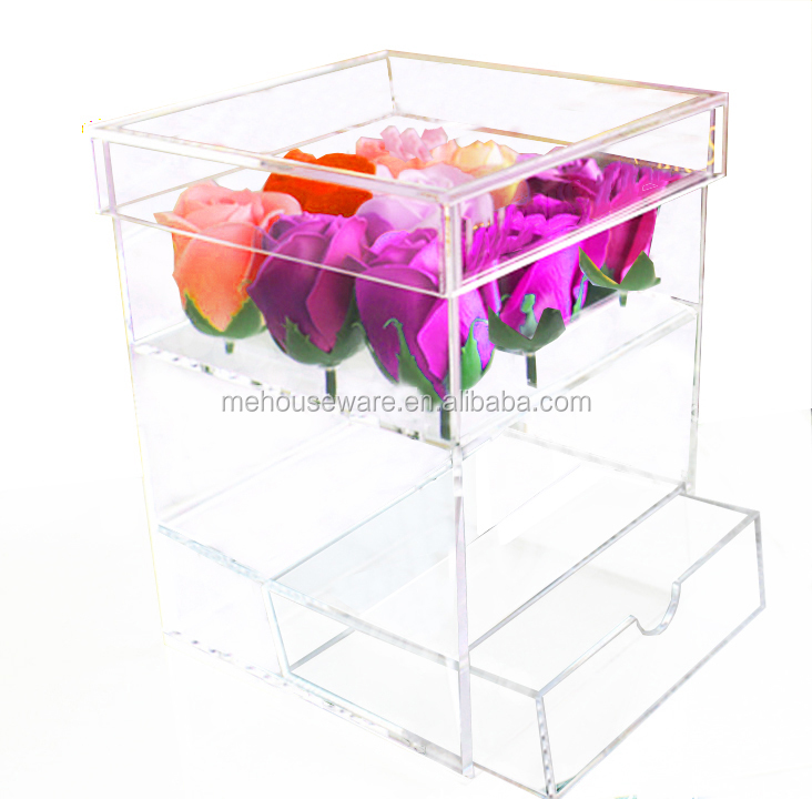 luxury box rose clear acrylic flower box package with removable drawer