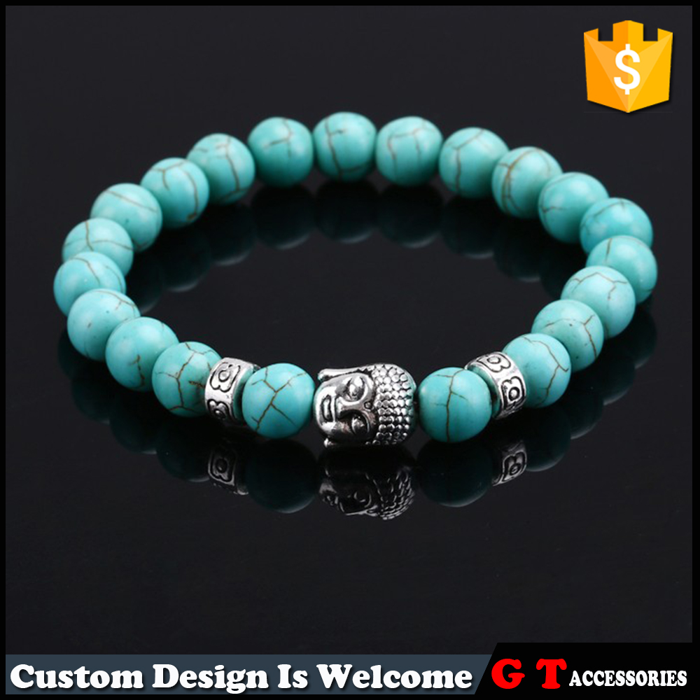 Yiwu Manufactory High Quality DIY Custome Natural Stone Turquoise DIY Bead Bracelet For Men Women