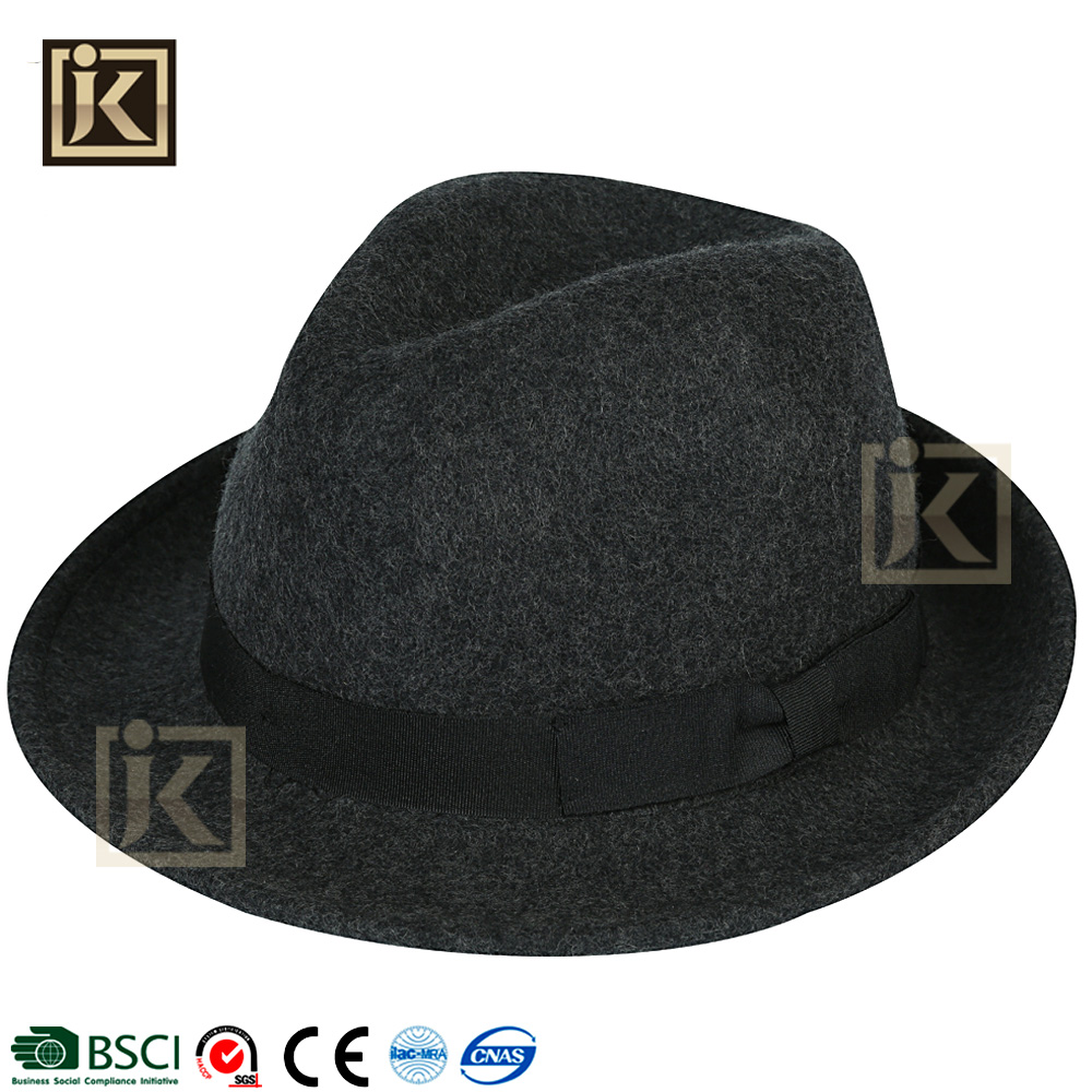 JAKIJAYI fahion winter black color felt men women fedora panama 100% wool hat