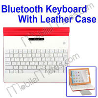 Wireless Bluetooth Keyboard PU Stand Case with 4000mAh Power Bank for Pad 2/the New iPad/iPad 4