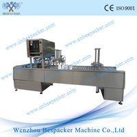 Automatic juice fill and seal machine for plastic bags