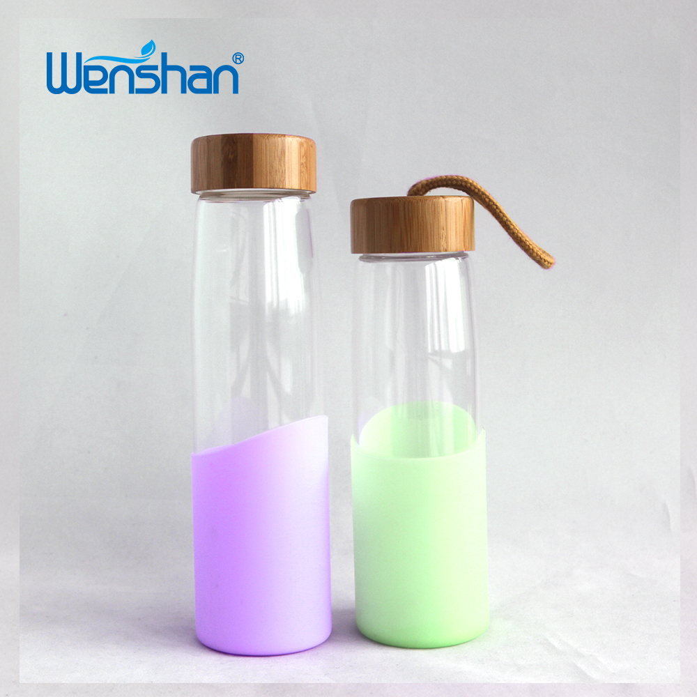 bamboo lid glass bottle with silicone sleeve