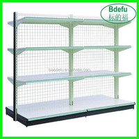 Store display shelf with grid wall