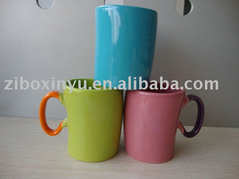 11 oz Colorful handle ceramic coffee cup FOR ZIBO XINYU PROMOTION
