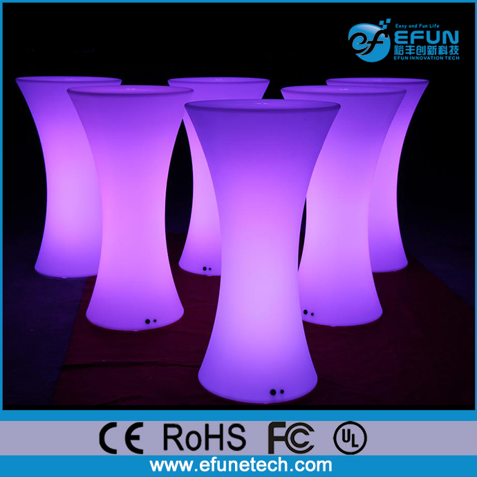 wifi control battery source wedding/bar/nightclub/event illuminated led spandex highboy cocktail tables