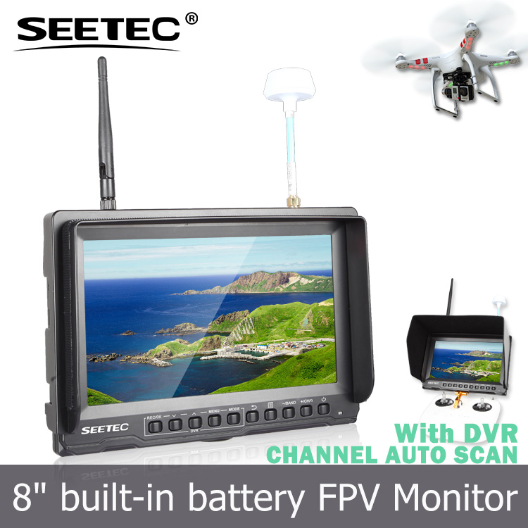 8 inch hd fpv monitor built in integrated lipo battery wireless diversity receivers portable dvr function big rc toys