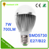 China Best 7W CE ROHS 110V-240V SMD E26 B22 E27 LED Bulb Light battery operated led light bulb e27