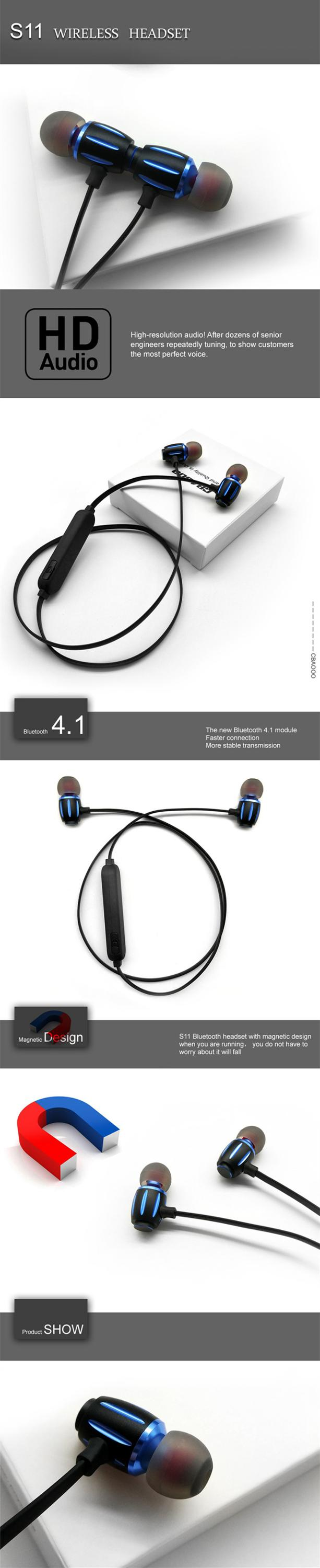 Maxshine 2018 best blue tooth 4.0 wireless sport headphones magnet