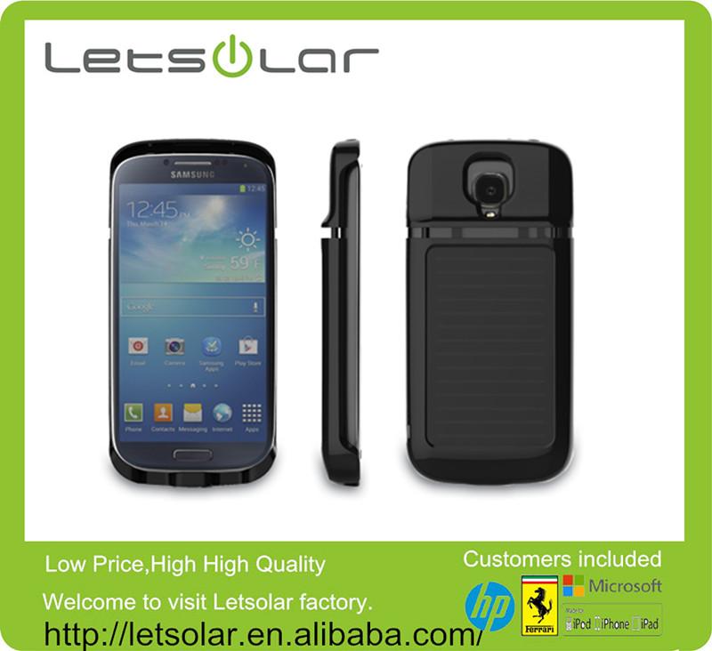 3000mAh rechargeable solar charger case with led portable battery mobile charger for S4