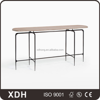 High end retail clothing store furniture wood-metal oval display table