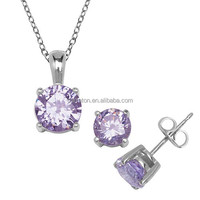 925 sterling silver jewelry AAA round purple zircon pendant and earrings set