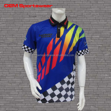 Short sleeve blue dye sublimation mesh motocross jerseys