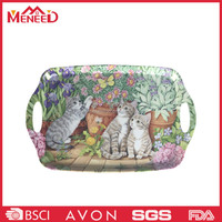 Cute cat print plastic tray with handles , melamine banquet serving tray