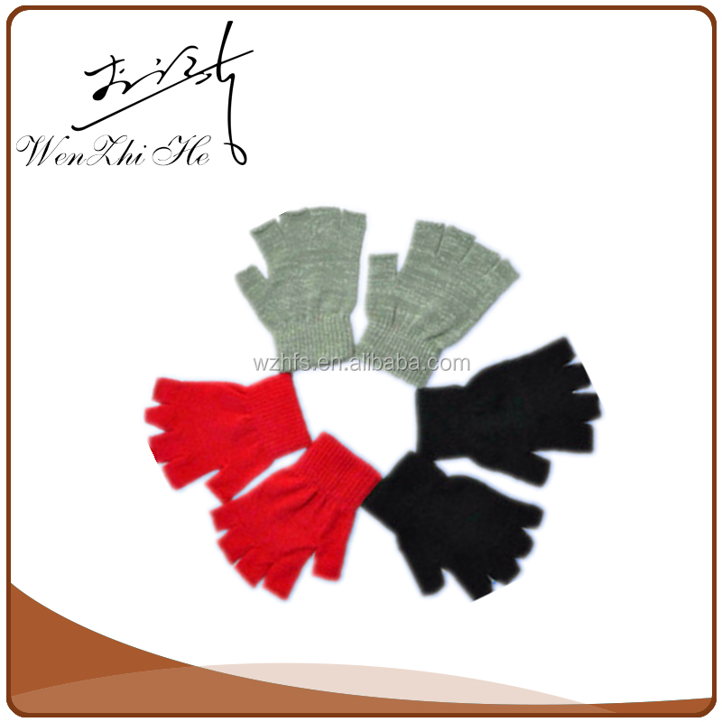 Half Finger Pure Color Winter Knit Gloves For Driving
