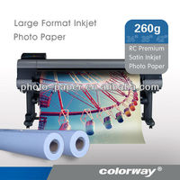 "Hot- Factory price 260gsm Waterproof RC Rough Satin inkjet photo paper PSR260 roll size 24"" 36"""