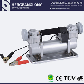 Heavy duty car air pump with double cylinder