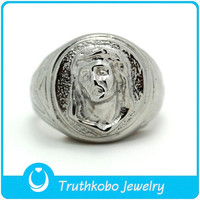 TKB-R0128 Europe Retro jewelry Virgin de guadalupe face casting silver stainless steel blessing rings for women