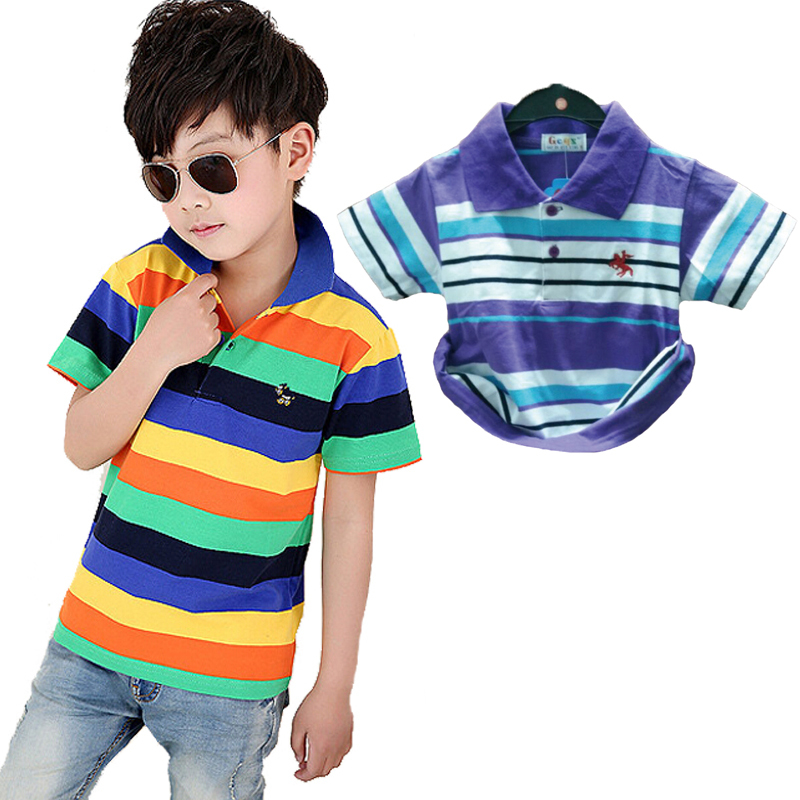Kids summer clothing boys Polo shirts striped style cool handsome boys children clothes amazing quality green white color T-006
