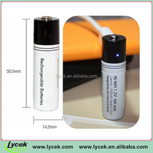 USB Micro Battery AA/AAA Size, 1.2V 1200mAh Eco-friendly Rechargeable Battery