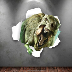 3d Window Dinosaurs Through the Wall Stickers Scary Dinosaur Home Decoration Diy Cartoon Kids Room Wall Decal Mural Wallpaper