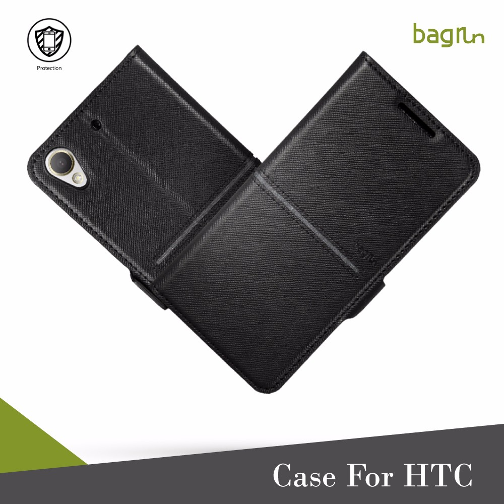 Premium Quality PU Cell Phone Wallet Case With Card Holder For HTC