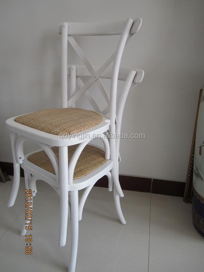 Stackable Wood Cross Back Tuscan Chair