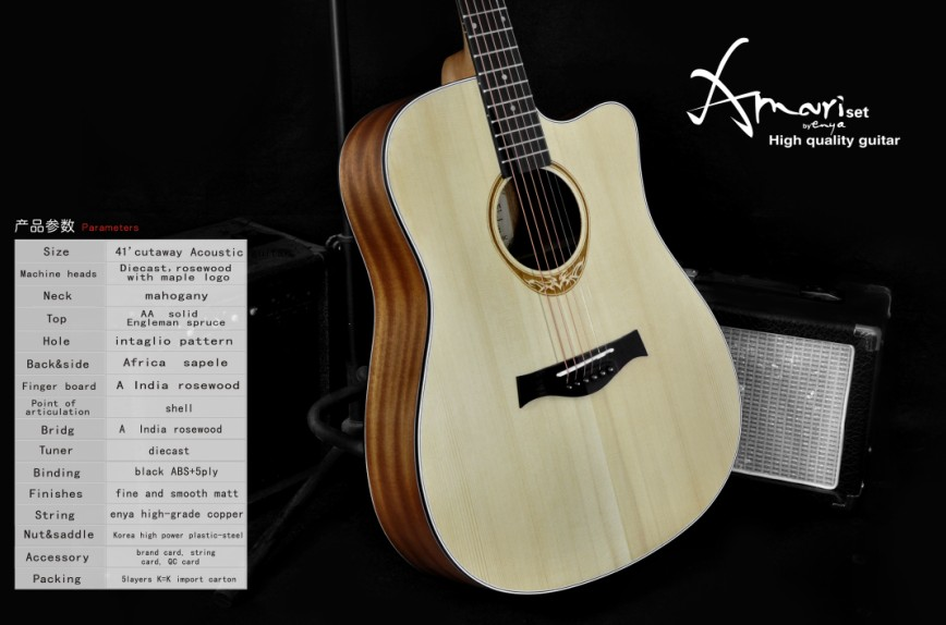 Amari cutaway Acoustic guitar AM-4188C ,musical instrument of thailand