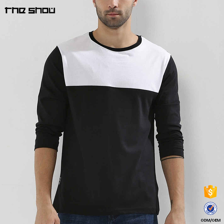 OEM high quality custom long sleeves mens cotton t shirt color combinations