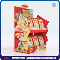 TSD-A524 Custom supermarket countertop 2 tiers pos unit for crisps/potato chip display rack/display stands for chips