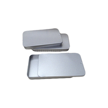 Customized Your Logo 40ml Silver Color Sliding Lid Square Aluminum Tin . WB100-90