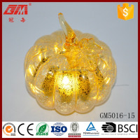 Factory Supplier Spray Silver Glass LED Pumpkin With Leaf
