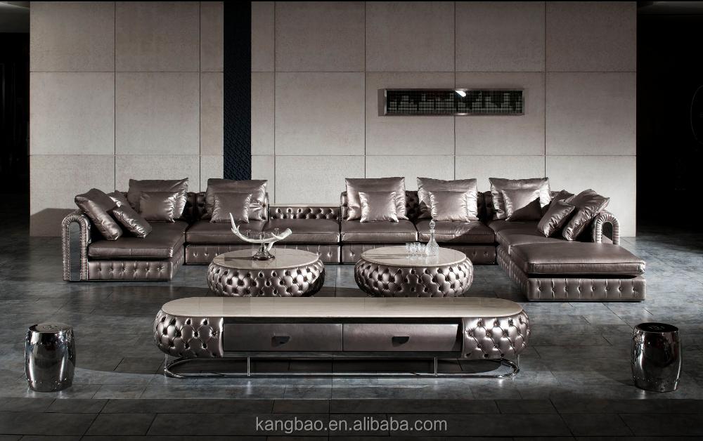 Classique de luxe design italien canap en cuir pleine for Salon de luxe italien