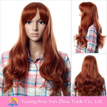 Thicker good quality rust red long curl wigs for white women