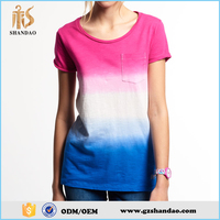 2016 guangzhou shandao yarn dyed 200g 65%polyester 35%cotton summer fashion short sleeve O-neck custom fancy ladies t-shirt