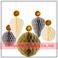 Gold Party Wedding Decoration Tissue Paper Honeycomb Balls sets