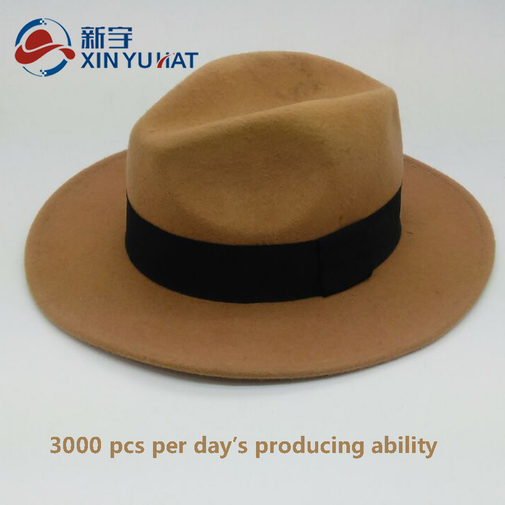 custom wholesale classical men camel wool felt fedora hat
