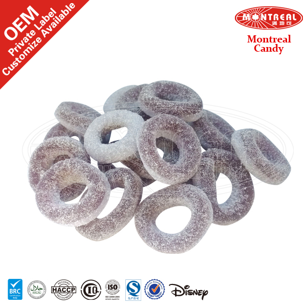 Grape Circle Shape Sour Gummy Candy
