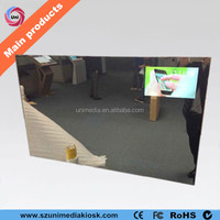 Bathroom LED backlight content updated by SD card magic advertising smart mirror