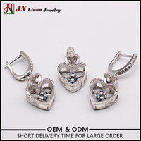 Heart Silver Pendant Earring Ring Sets
