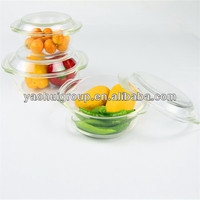 Pyrex Glass High Borosilicate Round Casserole With Lid Heat Resistant Wholesale Three Sets