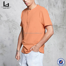factory oem henley tee mens wholesale custom blank t shirts in orange