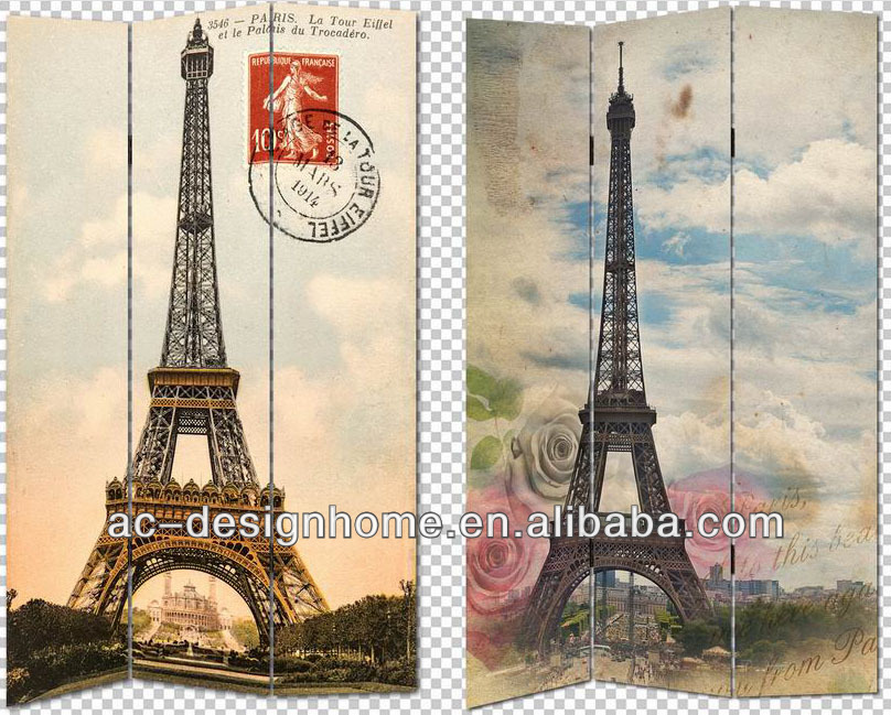 EIFFEL TOWER 3 PANEL CANVAS/WOODEN FOLDING SCREEN