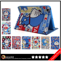 Keno Cartoon Doraemon Pattern Leather Wallet Phone Cases Flip Cover with Card Slots & Stand for iPad Mini 1