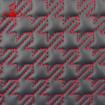 Embroidery Leather Quilted Fabric for Shoes,Car Mat,Seat Cover