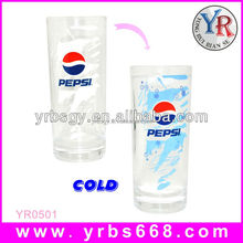 2016 attractive gift item customized logo color changing glass water cup