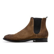 high quality fashion cow leather suede chelsea boots men