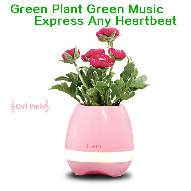 Nice lady gift flower sing led smart music flowerpot stand with lovely Sound