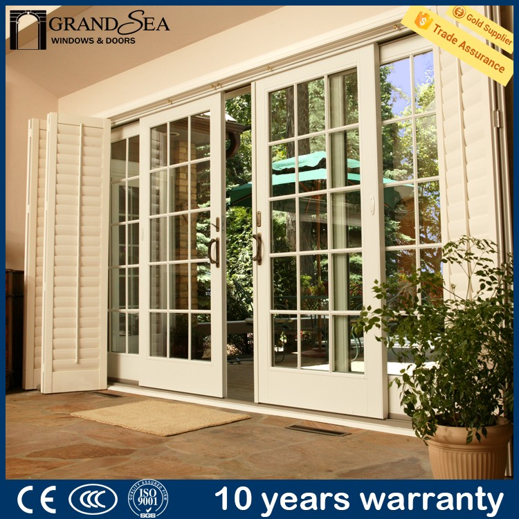 Luxury royal double frosted glazing garage sliding screen door with CE certification