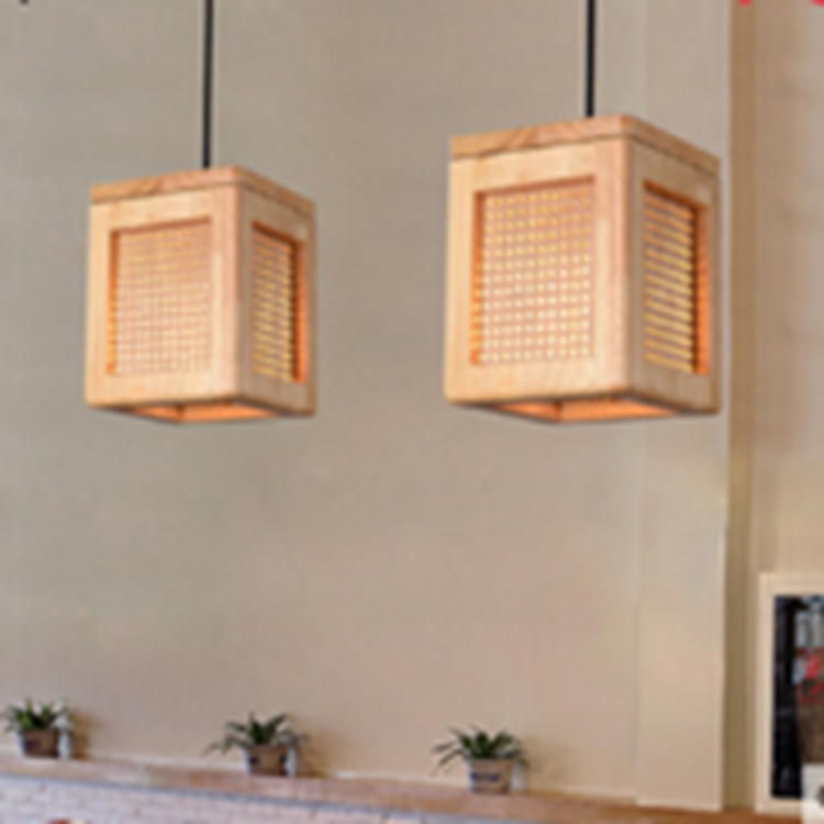 Wholesale indoor Small pin wooden hanging lamp for dining room