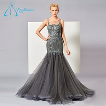 Satin Lace Appliques Sexy Elegant Tulle Mermaid Evening Dress